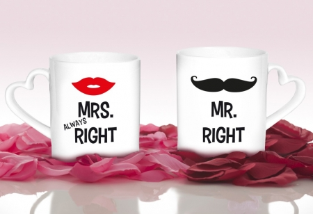 "Herztassen ""Mr. Right & Mrs. Always Right"""