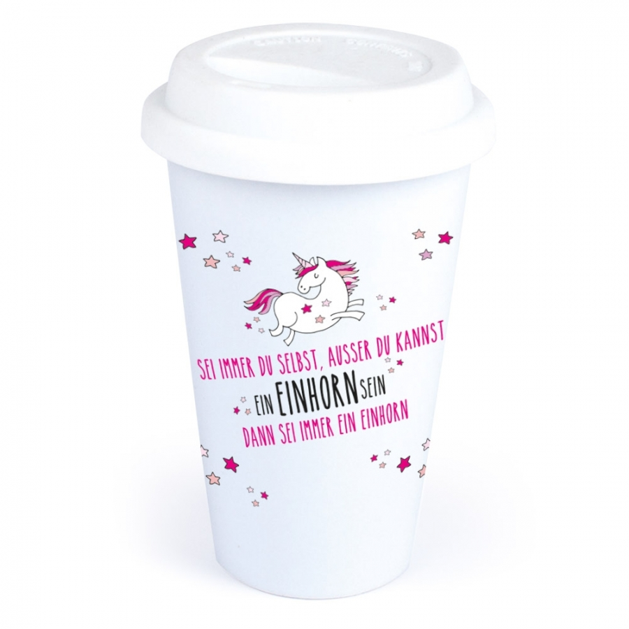 Coffee-to-Go-Becher mit Einhorn-Motiv