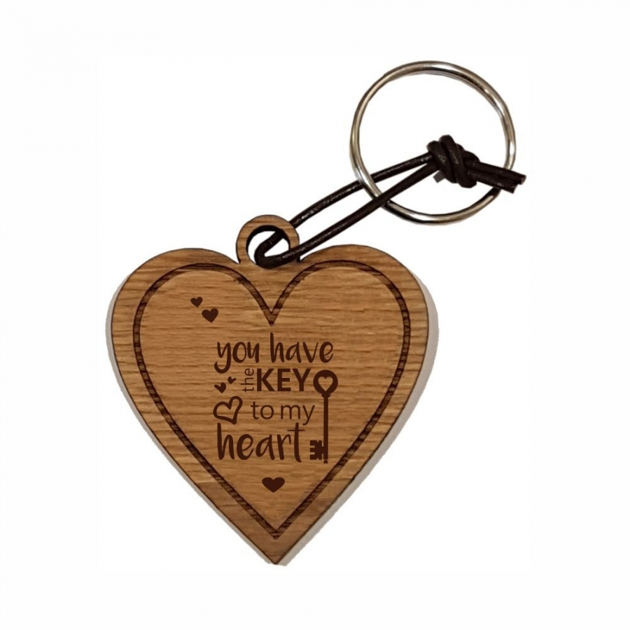 "Holz-Schlüsselanhänger ""You have the key to my heart"""